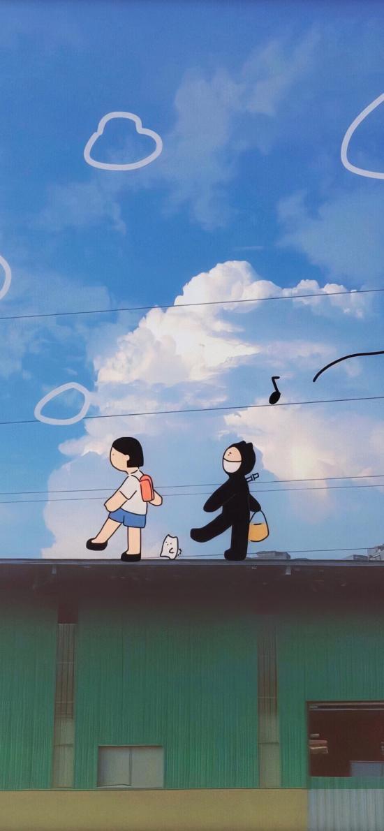卡通 插图 行走 蓝天白云