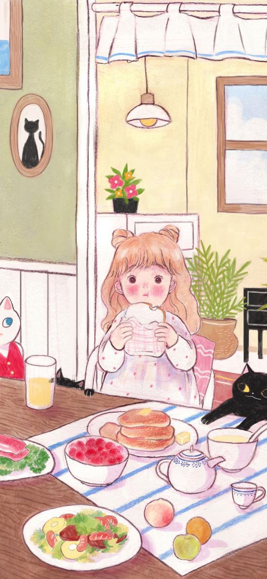 女孩 插画 进食 可爱 插画师:Yoovora 1