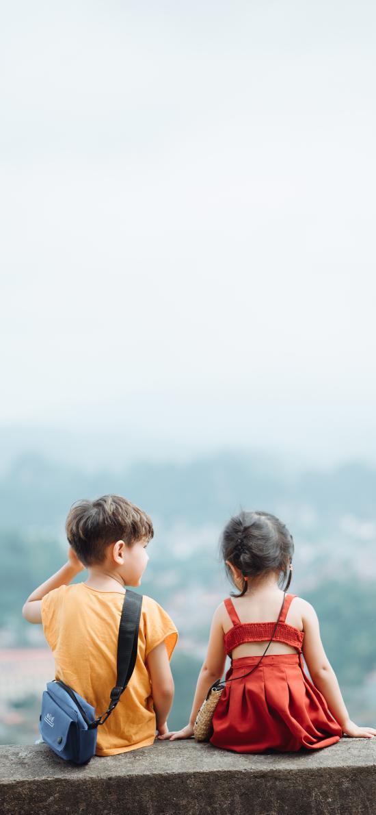 背影 可爱 小孩 男女