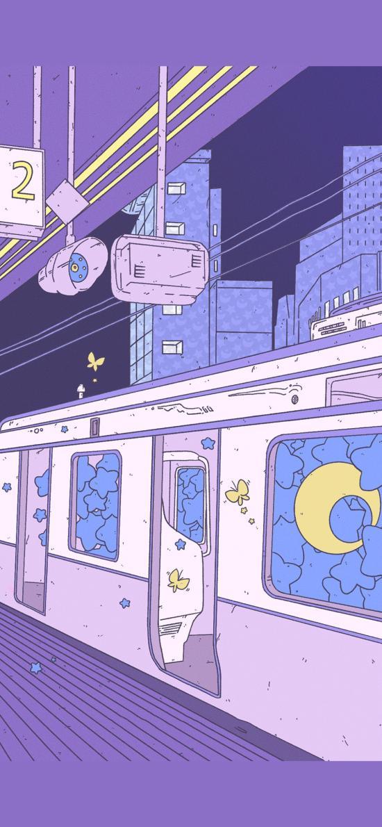 电轨车 插画 紫色系 星星 插画师:Cuna1