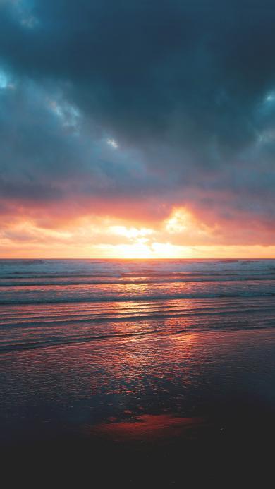 海岸 夕阳 日落 黄昏 海平面