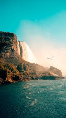 瀑布 大海 蓝天 峭壁