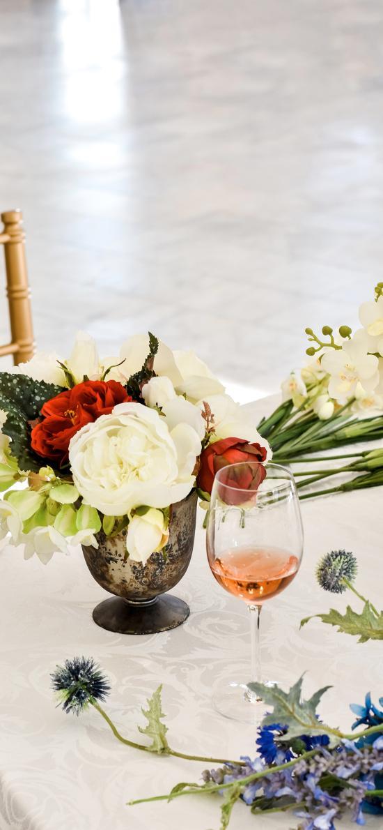 静物 花束 鲜花 酒杯