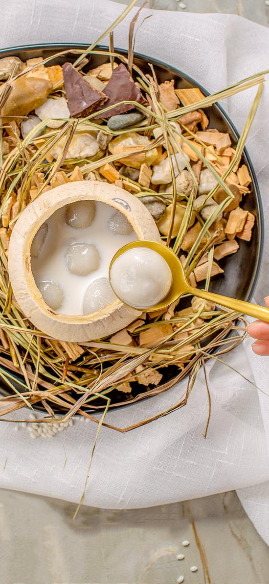 甜品 椰子 汤圆 椰汁