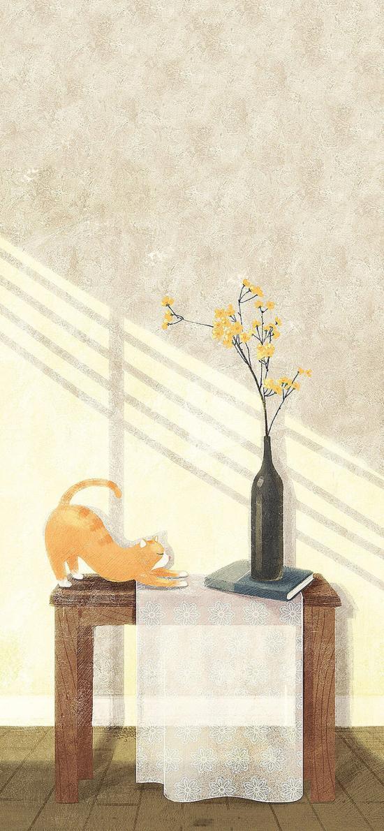 猫咪 插画 花瓶 插花