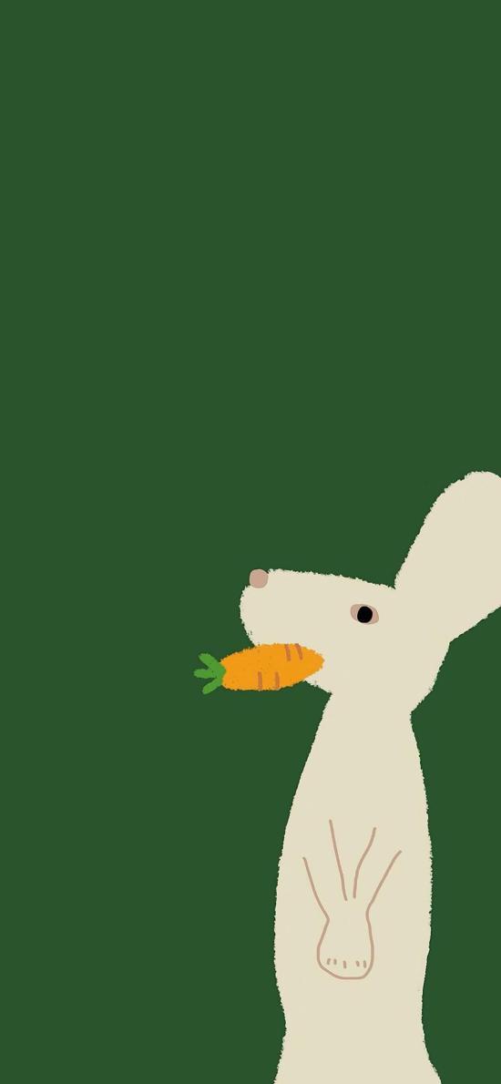 插画 绿色背景 小兔子 胡萝卜