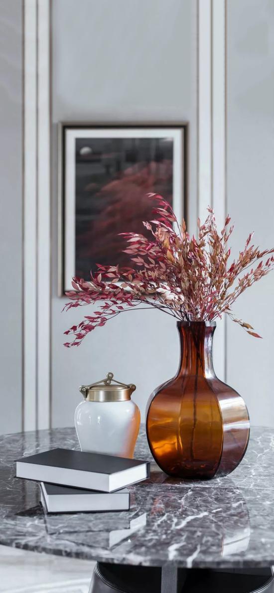 家居 花瓶 插花 粉色 书籍