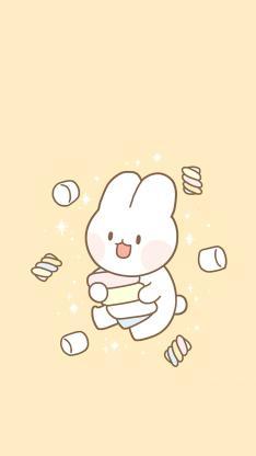 可爱 兔子 黄 兔子 棉花糖