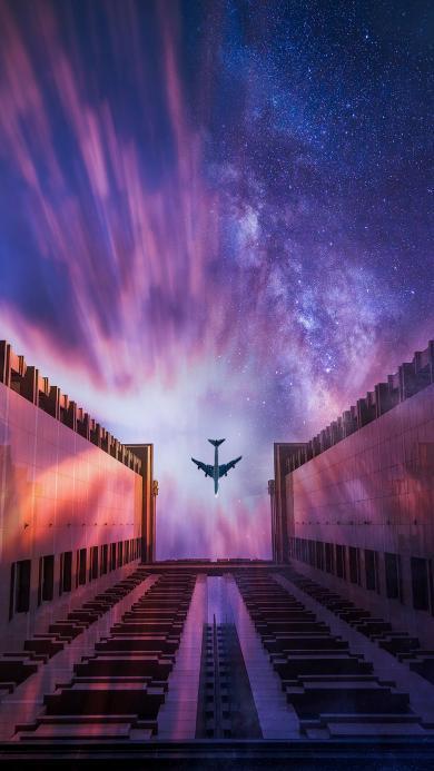 飞机 星空 建筑 色彩