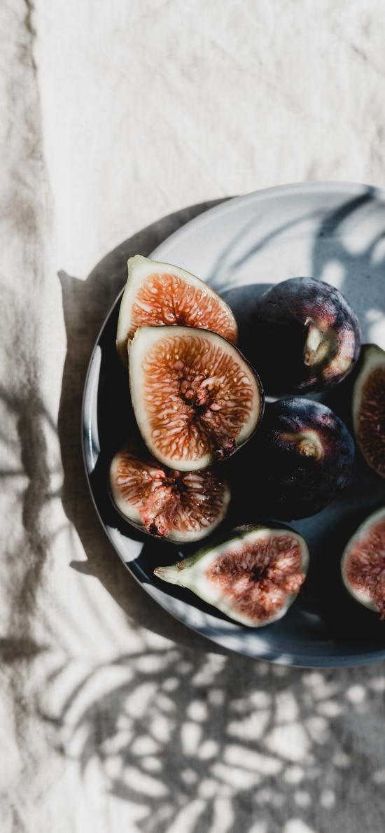 无花果 水果 切开
