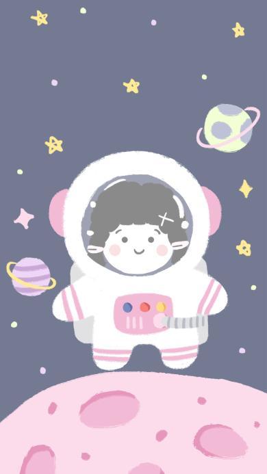 插画 太空 宇航员 行星(取自微博:奶鹿–JUNE3)