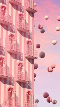 粉 建筑 圆体 漂浮 艺术