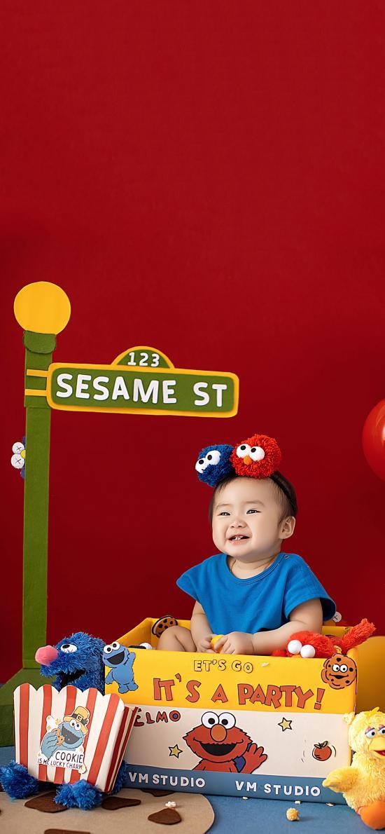 儿童 萌娃 写真 芝麻街