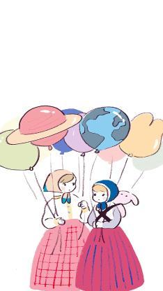 绘画 女孩 气球 插画