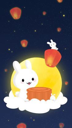 中秋 兔子 月球 月饼