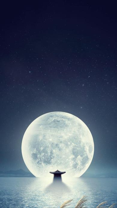 月球 月亮 明亮 倒映