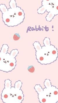 卡通 小兔子 Rabbit 平铺(取自微博:奶鹿-JUNE1)