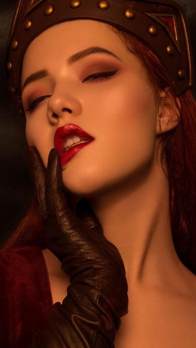 美女 模特 写真 妆容 红唇