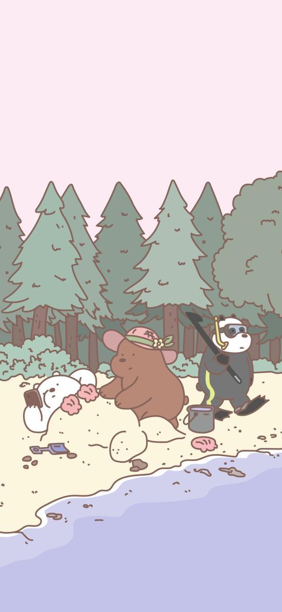 动画片 咱们裸熊 露营 可爱