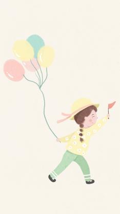 插画 气球 女孩 色彩 暖色