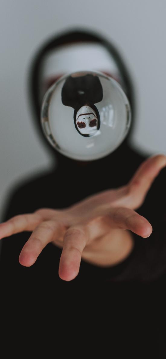 水晶球 悬浮 创意 倒映 面具