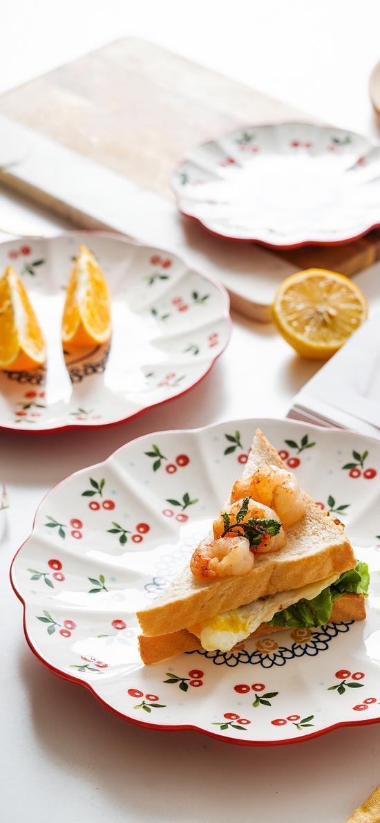 吐司 三明治 虾球 煎蛋