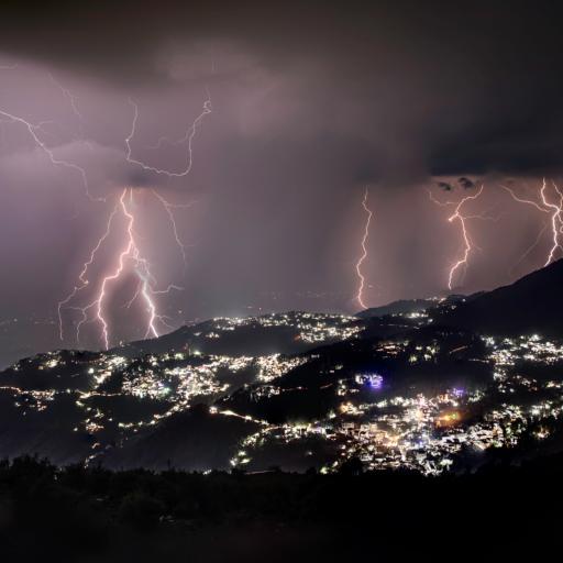 自然 闪电 天气 城市 夜景