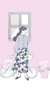 插画 女孩 绘画 粉 单车
