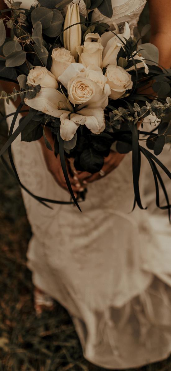 捧花 先好好 白色 玫瑰