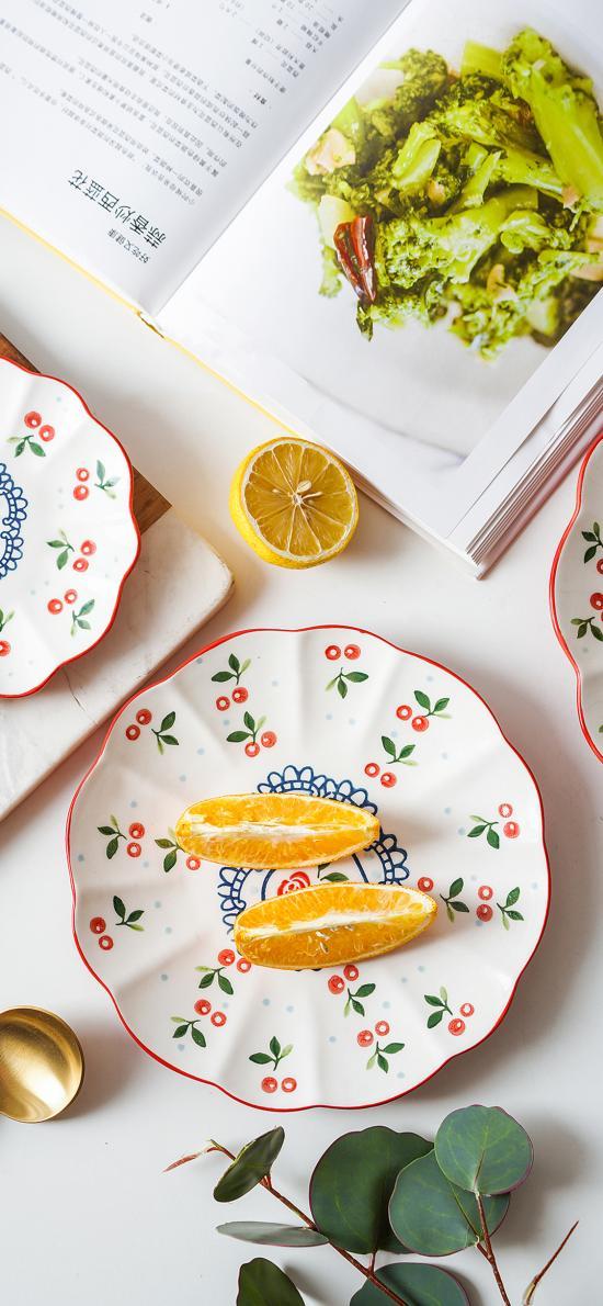 餐具 水果 橙子 柠檬
