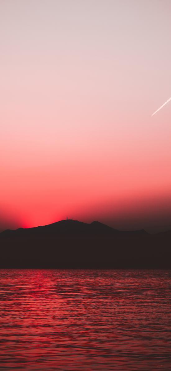山峰 大海 晚霞 红色