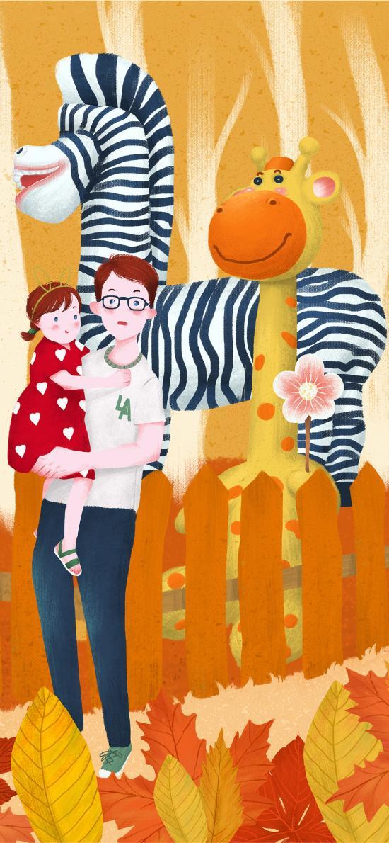 秋分 秋天 二十四节气 插画 父女 长颈鹿