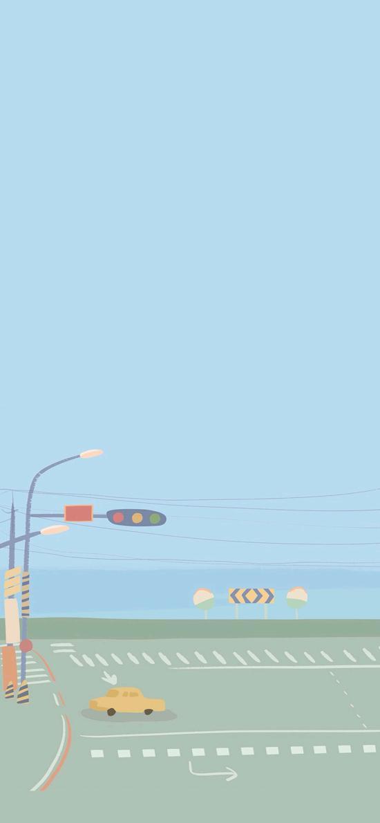 卡通 场景 车道 红绿灯