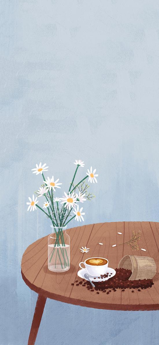 插画 咖啡 插花 雏菊 咖啡豆