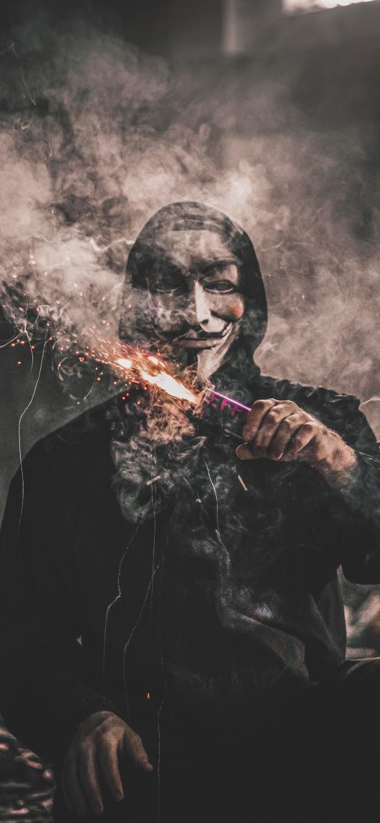 创意 人物 面具 烟花 神秘