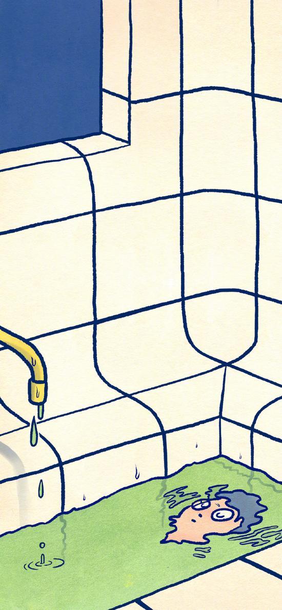 插画 浴缸 人物 泡澡