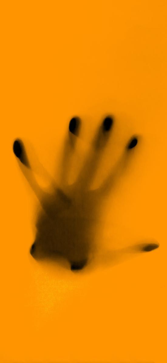 黄色 背景 手掌印 五指