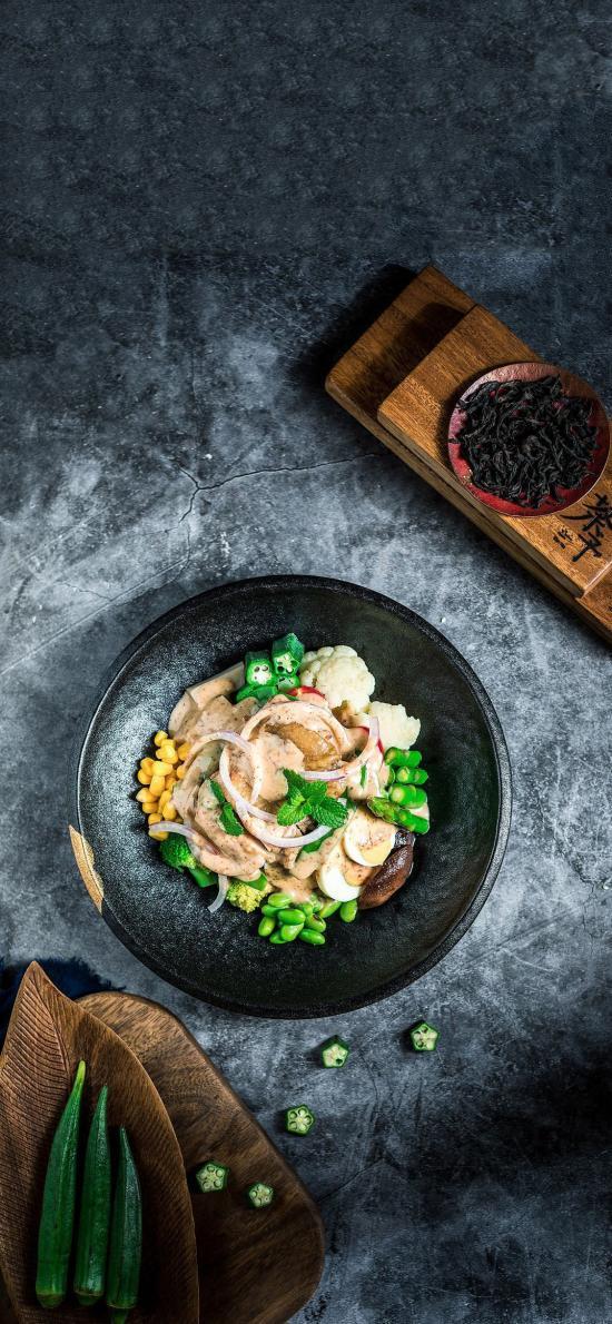 菜式 沙拉 洋葱 秋葵