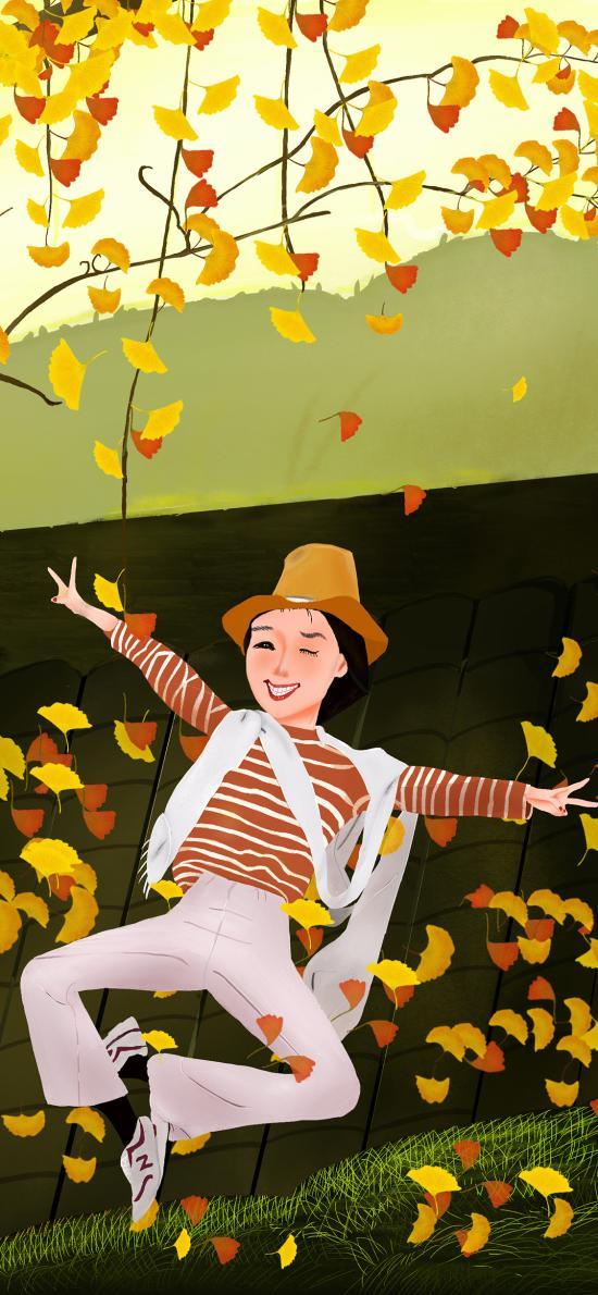 秋分 秋天 二十四节气 插画 女孩 落叶