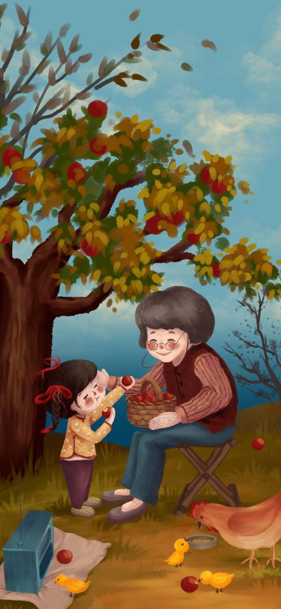 插画 亲情 奶奶 小女孩 水果
