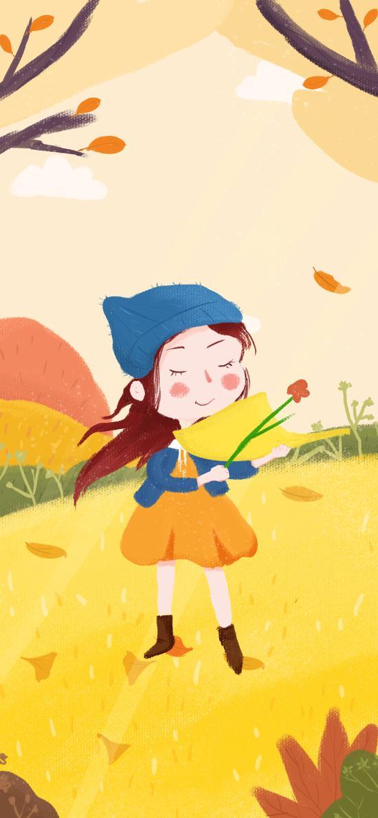 秋分 秋天 二十四节气 插画 女孩 鲜花 落叶