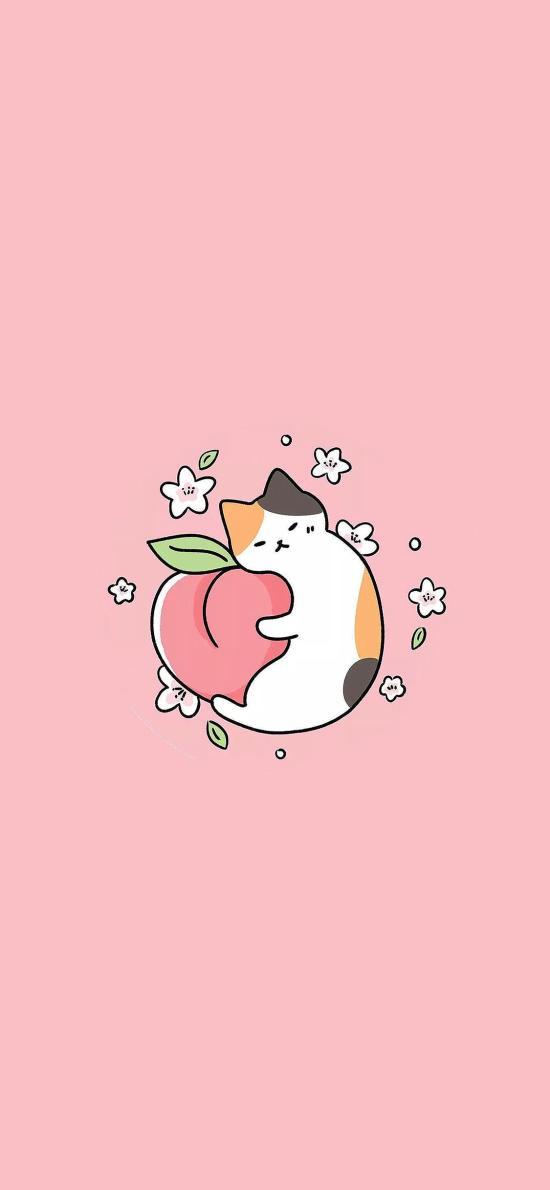 猫咪 粉 可爱 卡通