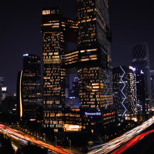 大厦 夜晚 灯光 城市 腾讯大楼