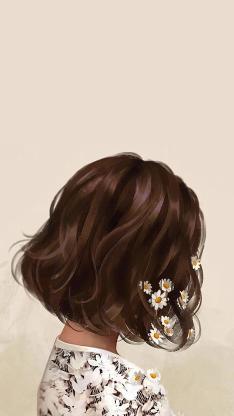 短发 女孩 雏菊 侧身