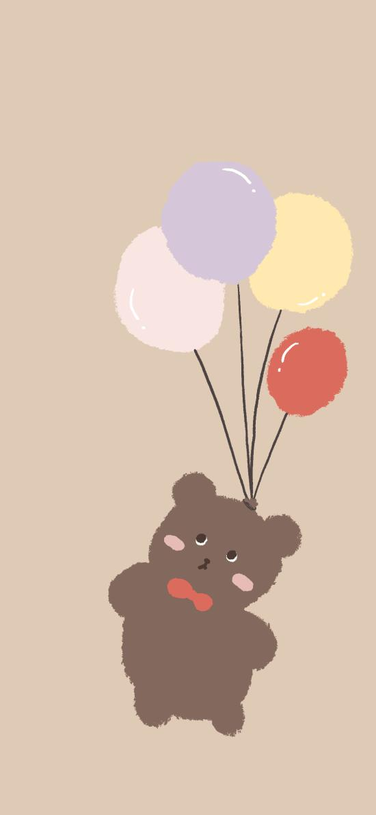 可爱 气球 小熊 卡通