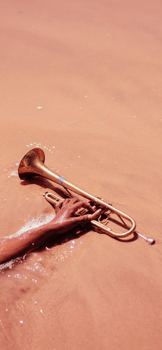 沙滩 乐器 小管 吹奏