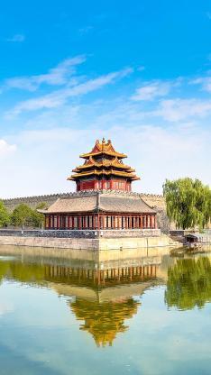 唯美 庭院 湖水 蓝天 建筑 中国风