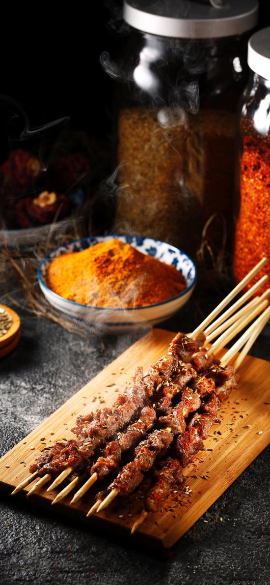 烧烤 烤肉 肉串 蘸料
