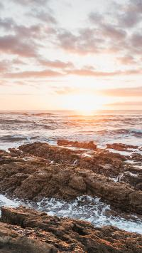 夕阳 太阳 阳光 大海 云彩