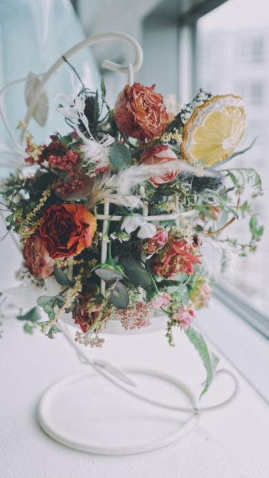 花艺 窗台 鲜花 干花